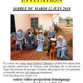 Invitation soirée témoignage Sœur Anne-Thérèse Villemain