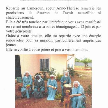 Remerciements de Sœur Anne-Thérèse