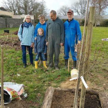 Plantation du premier arbre du nouveau «Jardin Solidaire», derrière la Vicairerie.