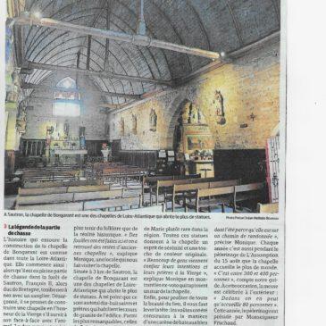 Notre Dame de Bongarant: article paru dans Presse-Océan du 30 juillet 2020