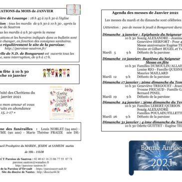 Informations paroisse – Feuille Frigidaire janvier 2021