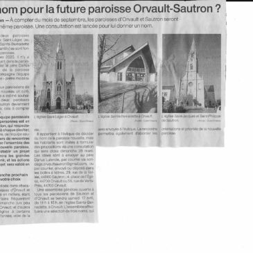 Article sur le rapprochement des deux paroisses Sautron et Orvault – Ouest-France du 22 mars 2021
